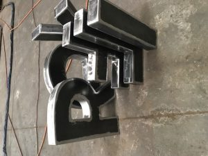 Steel fabricated boxed letters fully welded